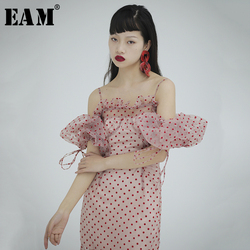 [EAM] Women Dot Mesh Split Joint Ruffles Asymmetrical Dress New Slash Neck Loose Fit Fashion Tide Spring Summer 2020 1S716