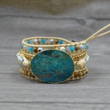Chakra Bracelet Bohemian Vintage Natural Stone Lava Beads Multi-Layer Leather Wrap Jewelry Handmade Druzy