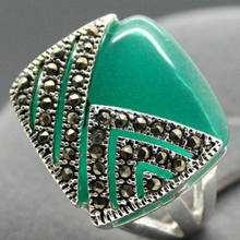 >>>@@ unsex 14*15mm Square Natural Green stone 925 Silver Ring Size 7/8/9/10(China)