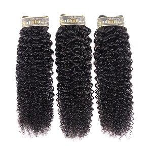 Image 3 - Satai 変態縮毛 3 バンドルと閉鎖中間部自然色人間の毛ブラジル毛織りバンドル非レミー髪