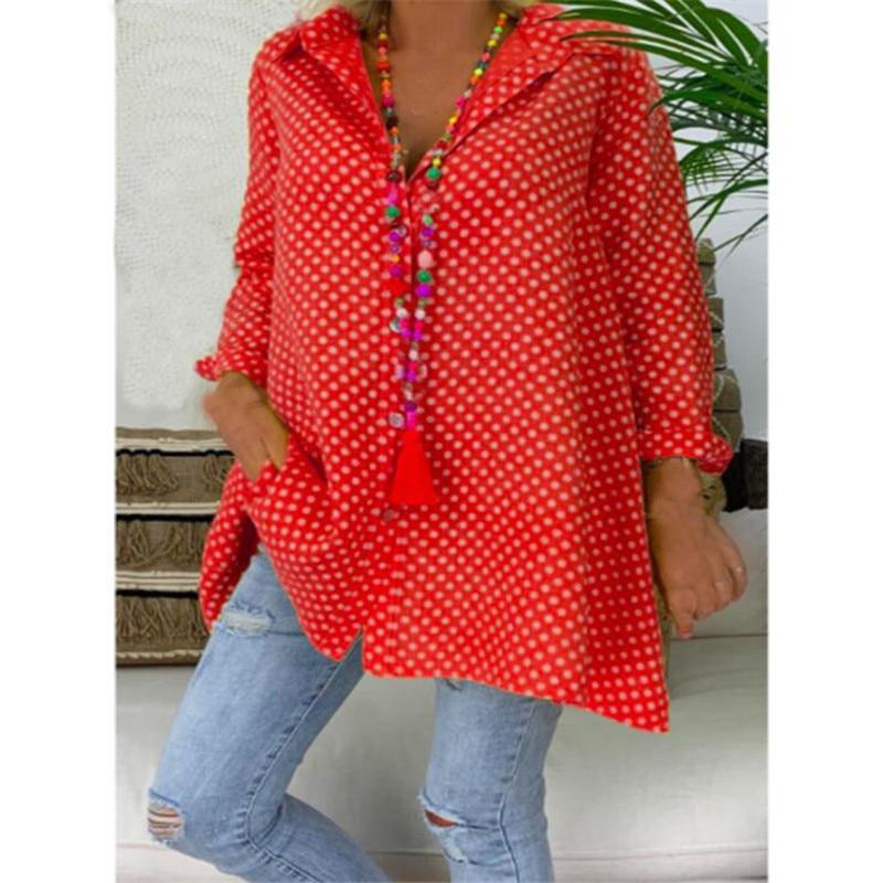 Womens Shirt Fashion Dots Printed Fit Loose Casual Comfort Long Sleeve Fit Slim Tops Shirt Roupas Femininas