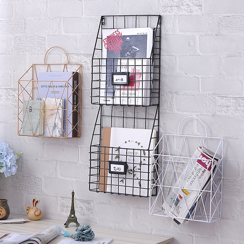 Hanging wall wall magazine rack dormitory study books and newspapers shelf newspaper storage shelf shelf wall-mounted type