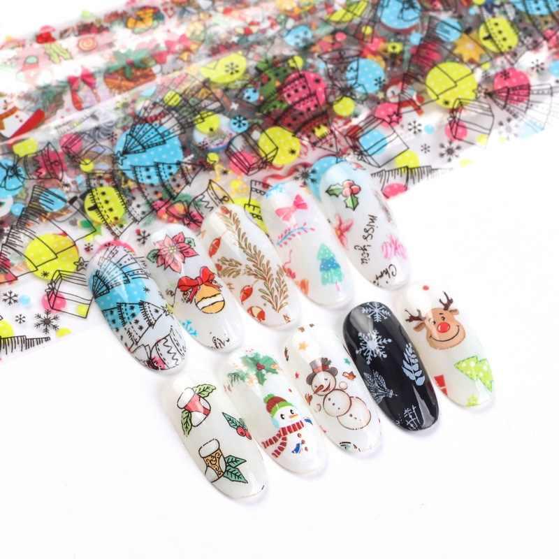 10 adet noel süslemeleri çivi Mix renkli Transfer tırnak kaplaması Sticker kar çiçek Elk hediye noel yapışkanlı kağıt YXL287