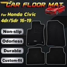 Car Floor Mat Mats For Honda Civic Gen10 4Dr 5Dr 2016   2019 Nylon Custom Tailored Fit Black Carpet Liner Front Rear 2017 2018