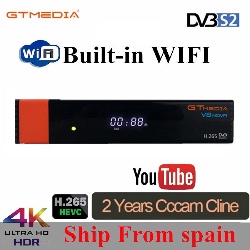 GT Mídia V8 Nova DVB-S2 H.265 V7s Freesat hd Receptor de Satélite WI-FI Embutido + 2 Ano CCcam Europa Espanha Novo versão de V8 Super