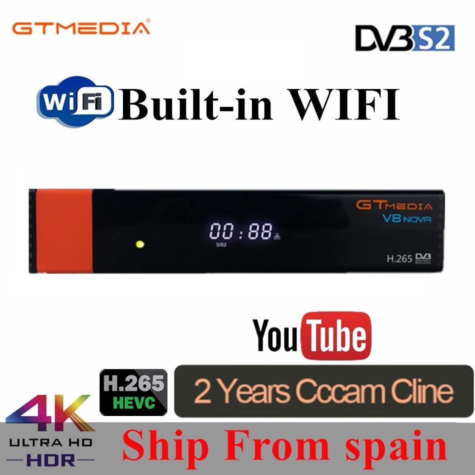 GT Media V8 Nova DVB-S2 Freesat V7s Hd Satellite Receiver H.265 Built-in WIFI+2 Year Europe Spain CCcam New Version Of V8 Super
