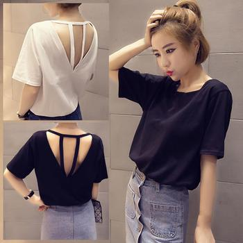 Solid Color Tshirt Women Short Sleeve O Neck T shirt for Women Sexy Backless Hollow Strap t shirt Lo