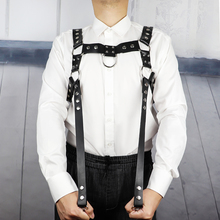 Leder Harness Dessous Männer Schulter Gürtel Brust Käfig Körper Strap Bondage Taille Muscle Hosenträger Goth Bdsm Bondage Rave Nacht