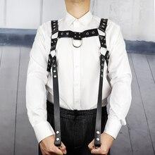 Skórzana uprząż mężczyźni bielizna pasek na ramię klatka piersiowa pasek ciała Bondage talia mięśni szelki Goth Bdsm Bondage Rave noc