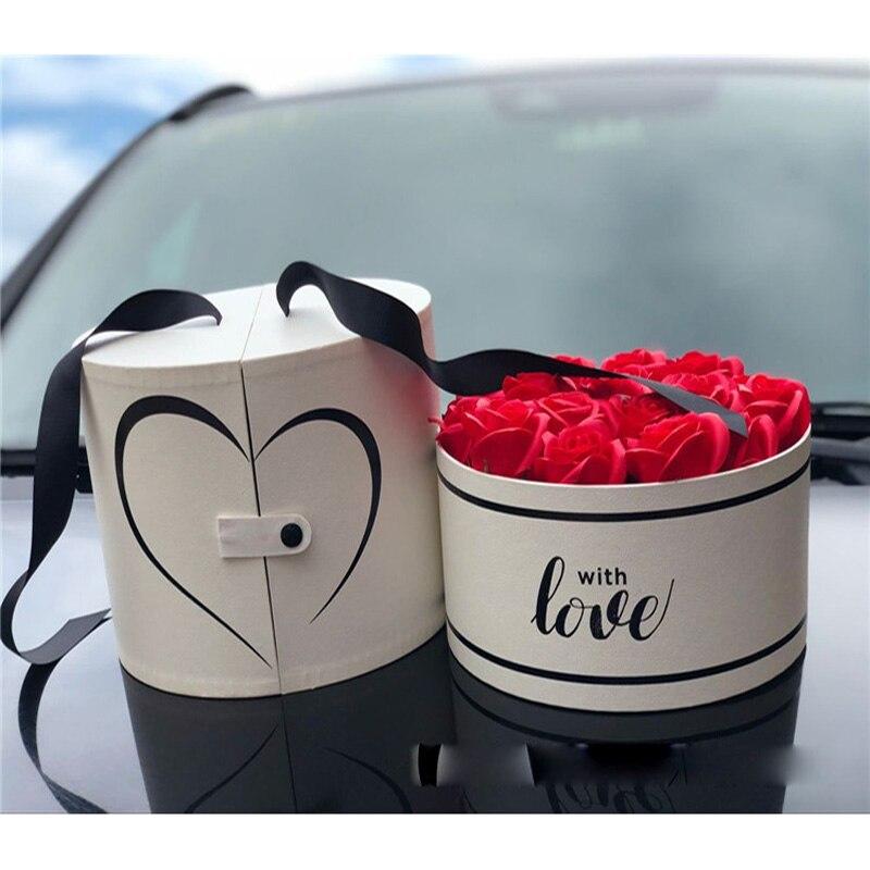Rond double-ouvert haut de gamme fleur cadeau boîte Rose saint valentin fête vacances boîte mariage fête décoration cadeau boîte ronde cadeau b