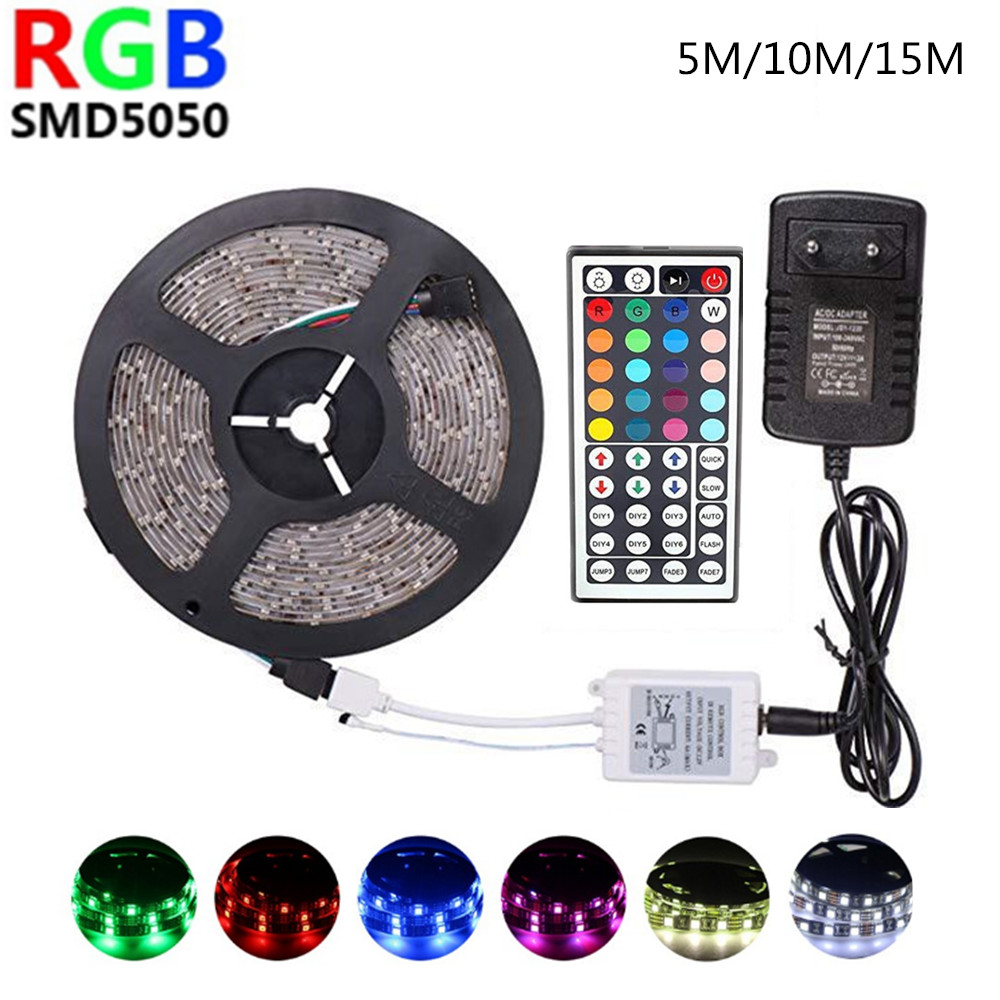 Led Strip 12v RGB SMD 5050 LED Diode Waterproof Tape 44key Control Ribbon Neon 5m 10m 15m Room Party Decoration Bar Strips Light