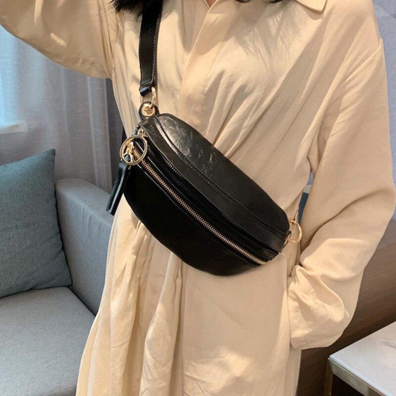 Waist Bag Female Fashion Fanny Packs  Waterproof Chest Pack Handbag Packed Hip Pack Waist Packs PU Women Crossbody Shoulder Bag