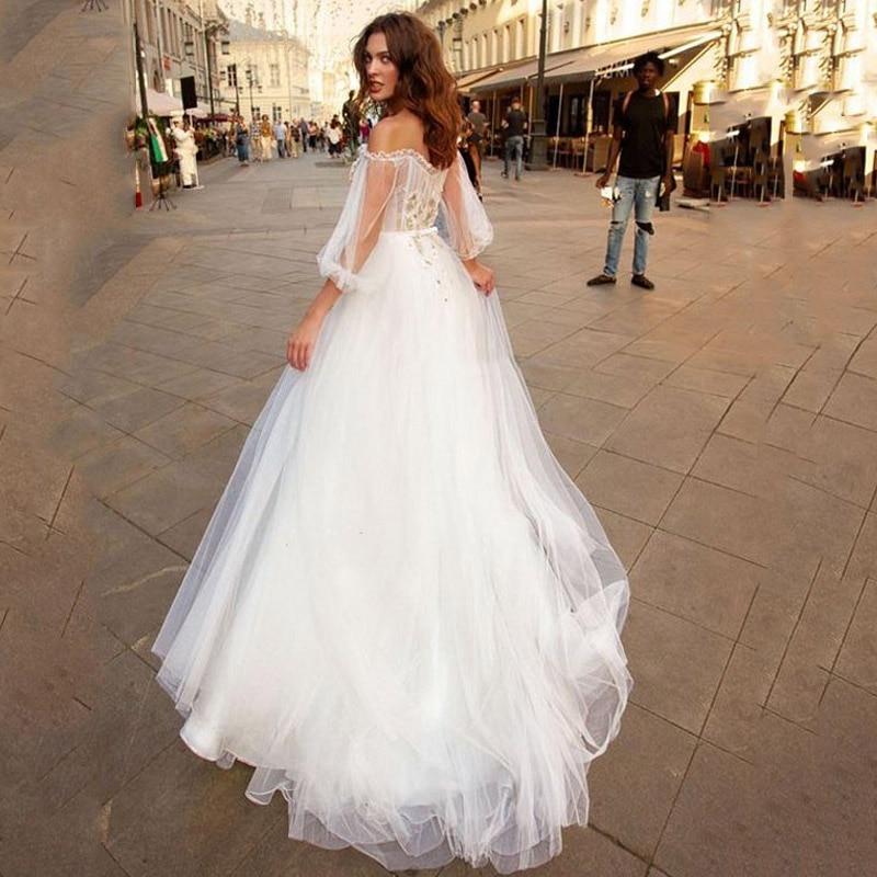New Arrival 2020 Boho Illusion Boat Neckline Lace Puff Sleeve Vestido De Noiva Wedding Dresses For Women