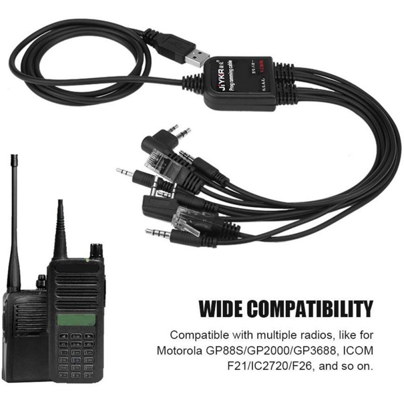 8 In 1 USB Programming Cable Multifunctional Compatible For Walkie Talkie KENWOOD/QuanSheng/HYT/Motorola/YAESU/ICOM Radio