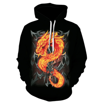 、Spring/fall 3d creative dragon print hoodie 2020 new design comfortable hip hop hoodie pullover