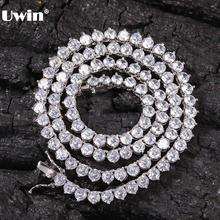UWIN جديد نمط 4 مللي متر الأبيض تشيكوسلوفاكيا تنس سلسلة مع الرجال والنساء قلادة موضة هدية Hiphop مجوهرات بالجملة/قطرة الشحن