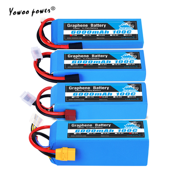 RC Graphene Battery 6000mah 2S 3S 4S Lipo 22.2v Battery with XT60 Plug for Traxxass rc 1/10 1/12 car Drone Boat Airplane heli