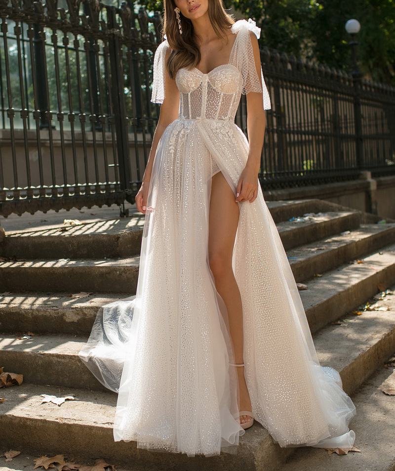 SSYFashion New   Evening     Dress   Sexy White V-neck Sleeveless Tulle High-split Beach Backless Prom Formal Gown Custom Robe De Soiree