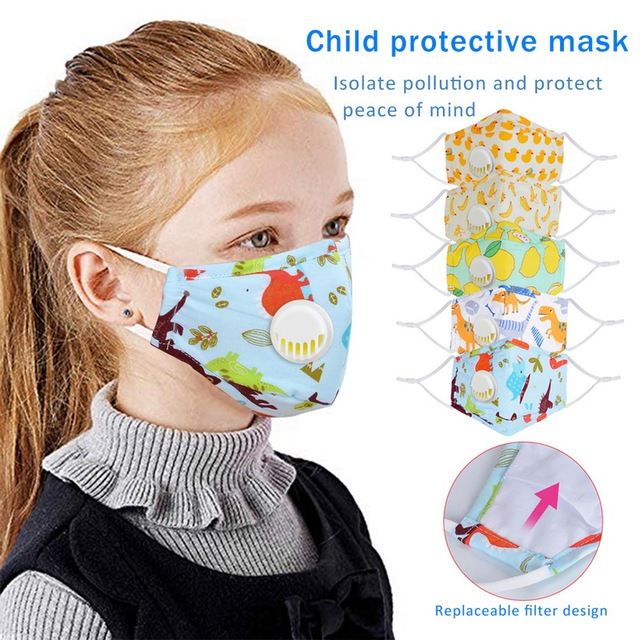 Cute PM2.5 Washable Mouth Mask With Valve Kids Children Anti Haze Dust Mask Nose Filter Face Muffle Bacteria Flu Respirator 1