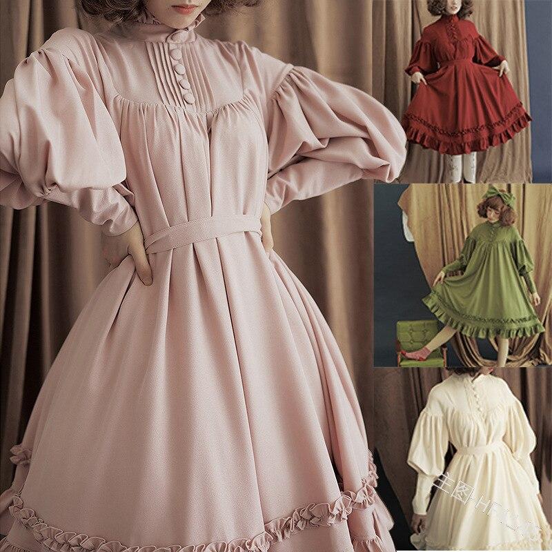 Gothic Vintage Lolita Dress Japanese College Palace Princess Dress Lace Lantern Sleeve Cute Party Dress Sweet Lolita Vestidos
