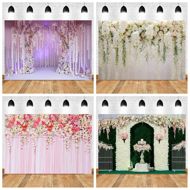 Yeele düğün töreni 3D çiçekler dekor ağacı mor fotoğraf arka planında kişiselleştirilmiş fotoğraf fotoğraf stüdyosu için arka planlar