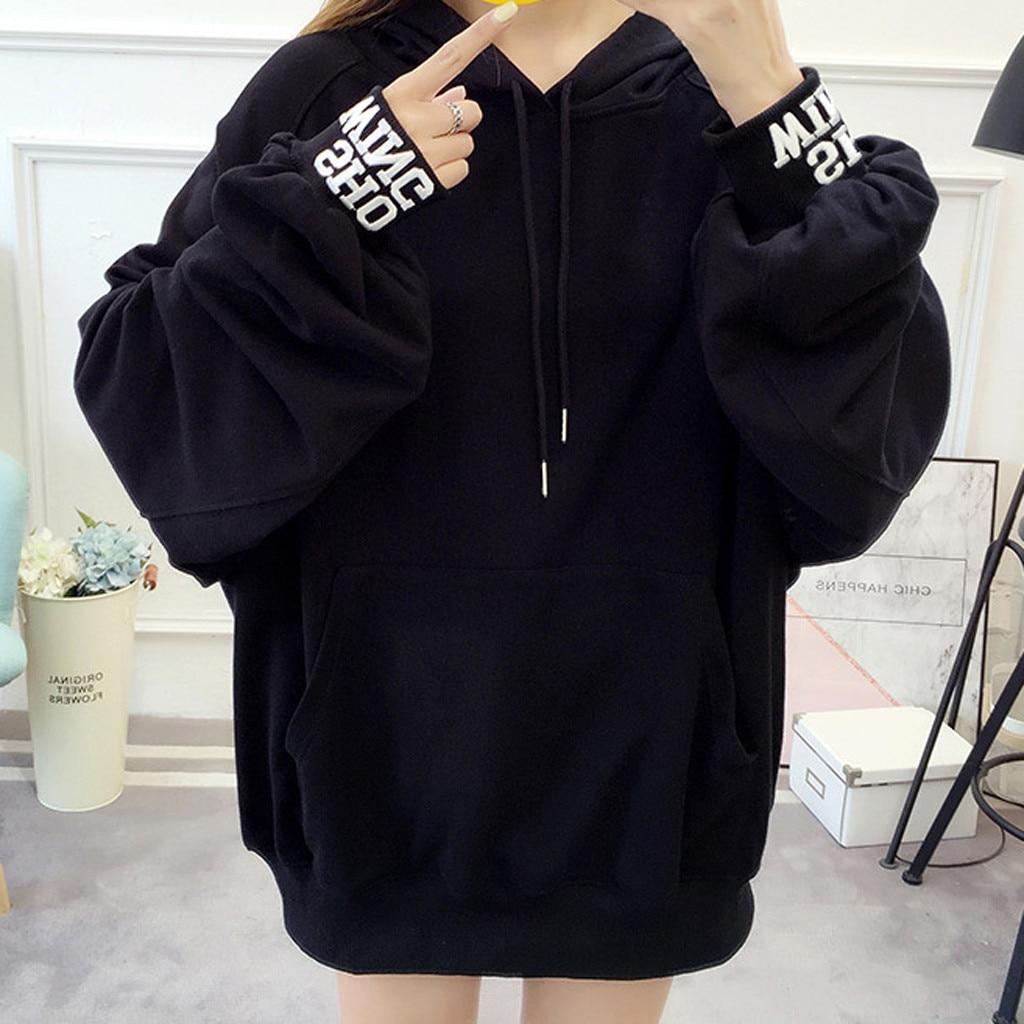 Oversized Hoodie Womens Sweatshirt Solid Casual Pullover Streetwear Black Letter Print Sweatshirt Autumn Pullover sudadera mujer
