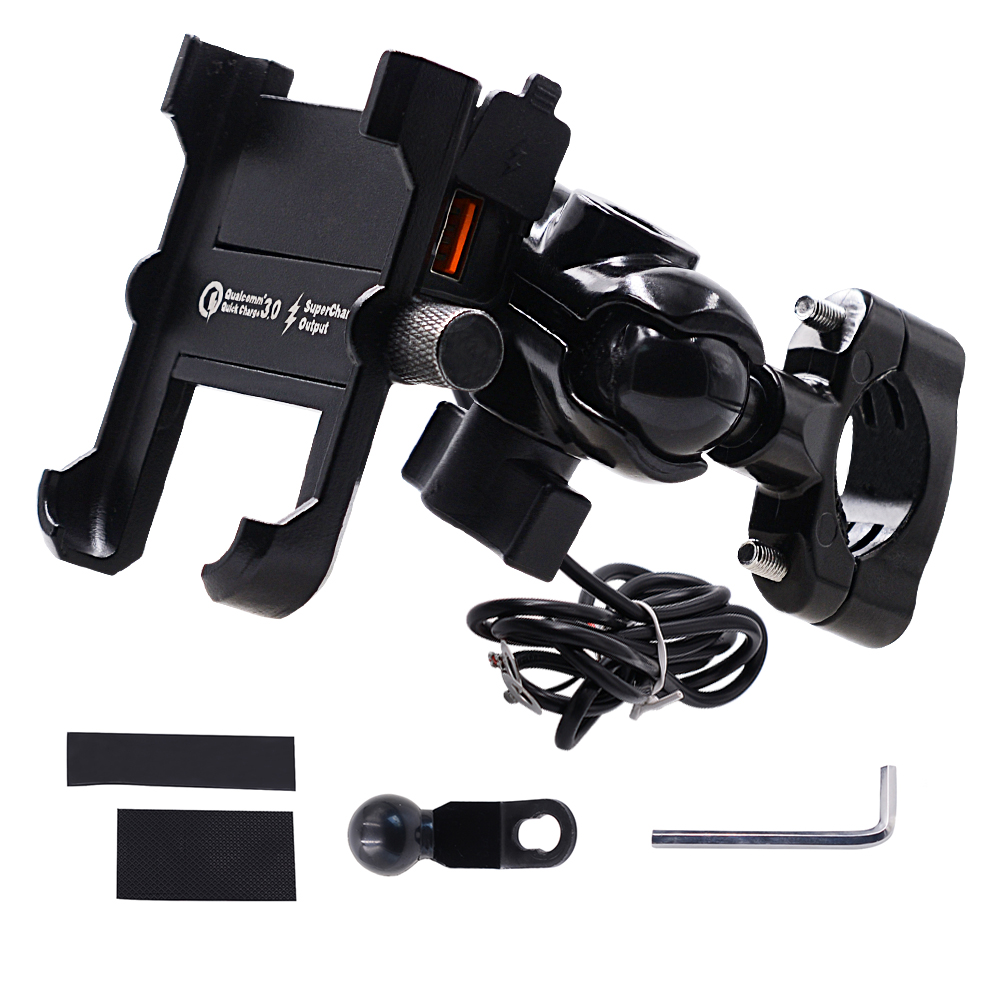 YPAY Aluminum Motorcycle Phone Holder QC3.0 Quick Charge Moto Handlebar Rearview Bracket Stand For 4-6.8 Inch Mobile Phone Mount