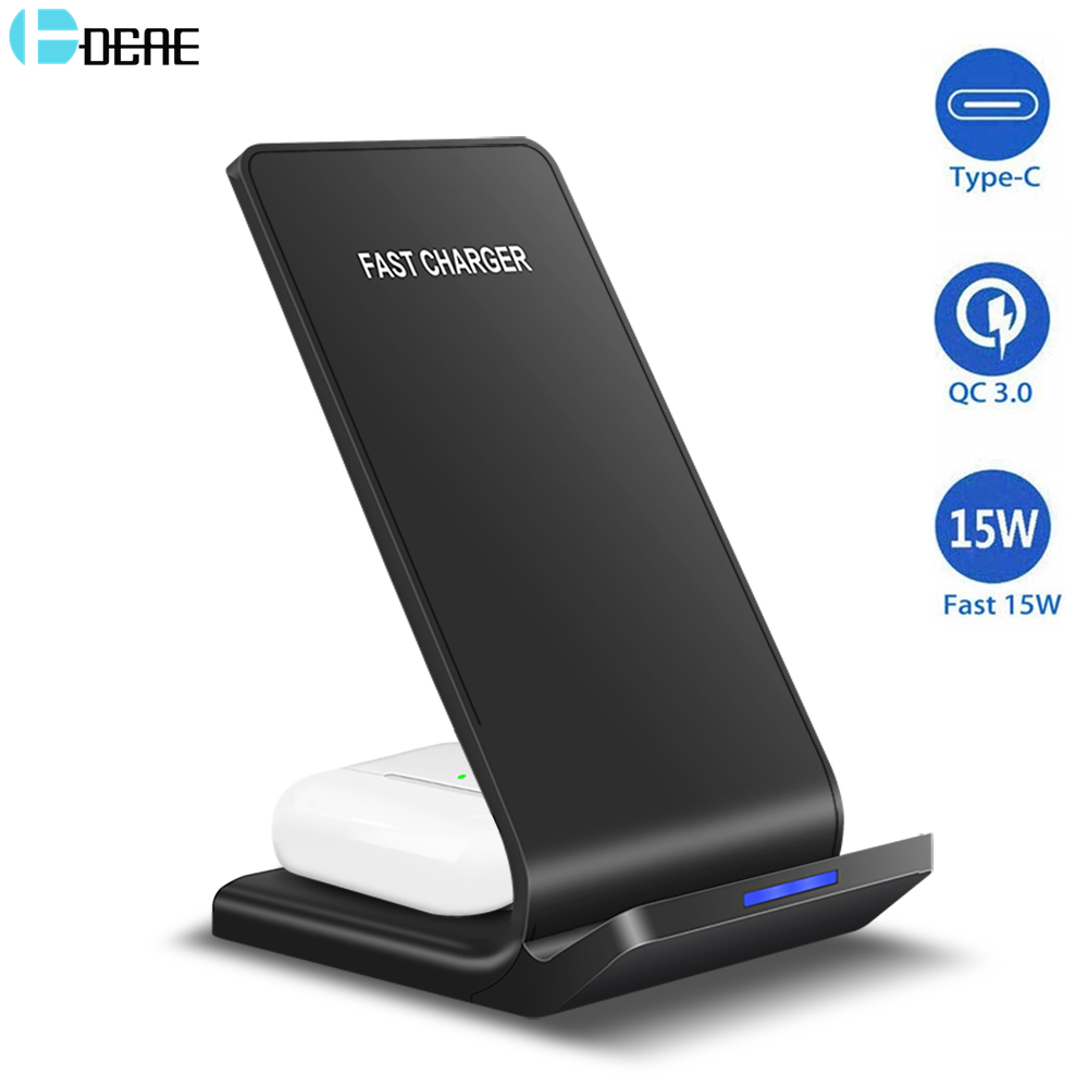 DCAE 15W Qi Wireless Charger for Samsung S20 S10 S9 Note 10 Buds 2 in 1 Fast Charging Stand For iPhone 11 XS XR X 8 Airpods Pro(China)