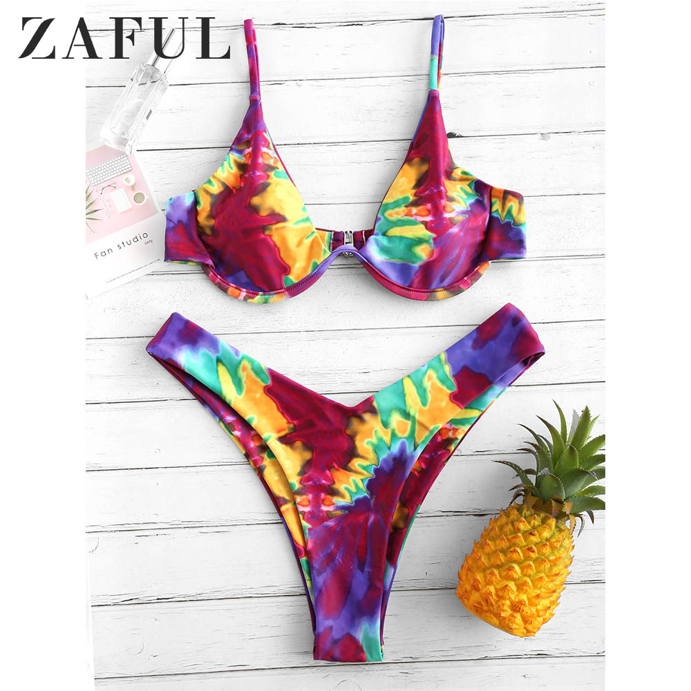 ZAFUL Bikini Tie Dye Underwire High Leg Bikini Set Spaghetti Straps Swimsuit Aesthetic Sexy Bathing Suit Women Swimwear 2019
