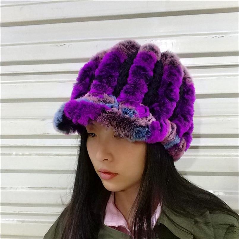 Russian Lady Real Rex Rabbit Fur Hats Winter Women Warm Flowers Genuine Fur caps Knit Fur Visor with Brim