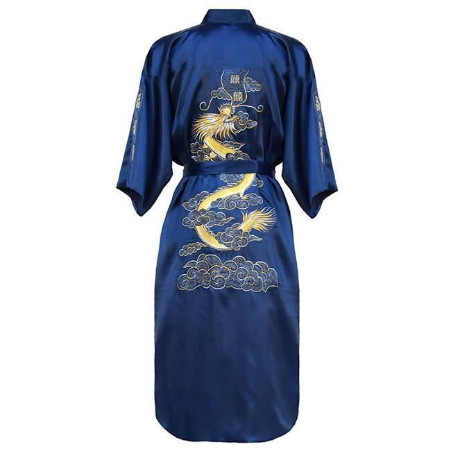 Традиционная Мужская одежда для сна винтажная темно-синяя ночная рубашка китайское кимоно купальный халат Домашняя одежда вышивка платье с драконами оверсайз - Цвет: Dark Blue