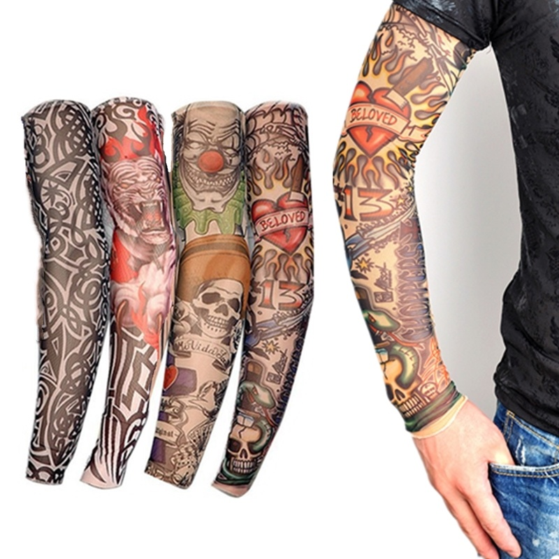 1PC Nylon Tattoo Sleeves Cycling Sports UV Cool Arm Sleeves Cycling Running Arm Warmer Sport Elastic Arm Warmers Oversleeve
