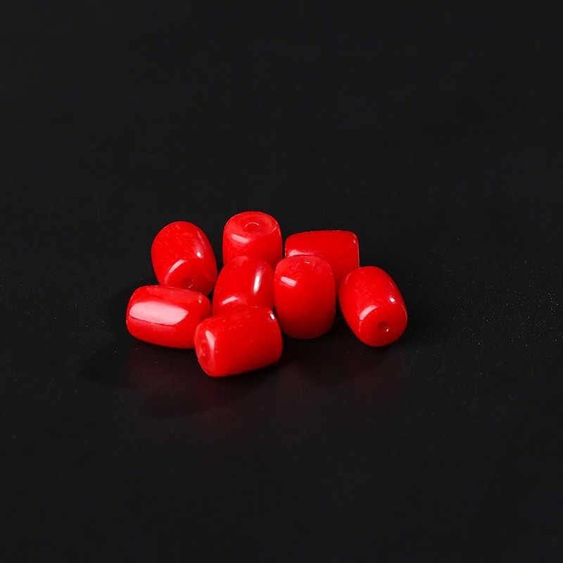 Barrel Red Coral Kralen 10Pcs 4*6 Mm/6*8 Mm Rood Vat Kralen Voor Ketting armband Accessoires Diy Sieraden Makings 18173