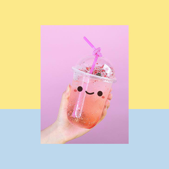 50pcs Net red transparent disposable milk tea cup 500ml 16oz U shape cute birthday party favors drinks coffee juice cup with lid