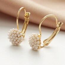 Серьги кольца женские с фианитом милые ювелирные украшения золотого