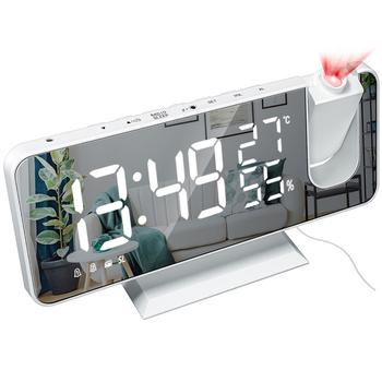 Cyfrowy budzik LED zegar projektor cyfrowy Radio z budzikiem moda regulowane lustro budzik budzik Relogio Horloge tanie i dobre opinie CN (pochodzenie) SQUARE clockmm DIGITAL 250g 18cmmm LUMINOVA Z tworzywa sztucznego 9cmmm Nowoczesne z podświetleniem Dwustronna