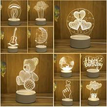 New Acrylic The neon lights 3D stereo Night light Small table lamp Bedside lamp LED lamp