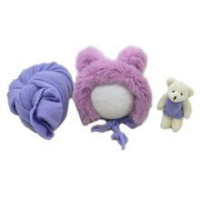 3 Pcs/set Newborn Photography Props Fluffy Stretch Knit Wrap with Hat Bear Toy 40JC