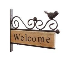 Accesorios de fotografía decoración moderna pájaro hierro forjado Mini placa Pastoral estable Vintage pared país bienvenida signo casa regalo