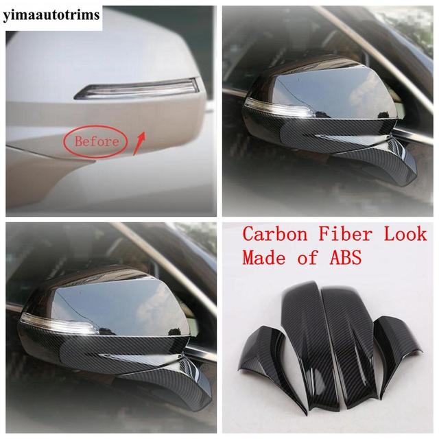 Door Rearview Mirror Protective Caps Stripes Cover Trim ABS Chrome / Carbon Fiber Look Exterior Fit For Cadillac XT4 2019 - 2021 3
