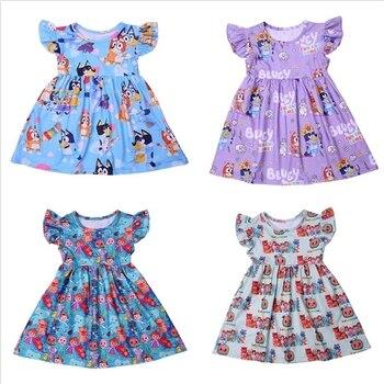 Princess Dress For Girls Flutter Sleeve Dress Cartoon Cocomelon Baby Girl Clothes Milk Silk Casual Toddler Girl Summer Dress 1