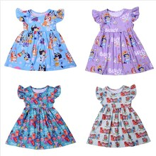 Vestido de princesa para meninas flutter manga vestido dos desenhos animados cocomelon roupas da menina do bebê leite seda casual da criança vestido de verão