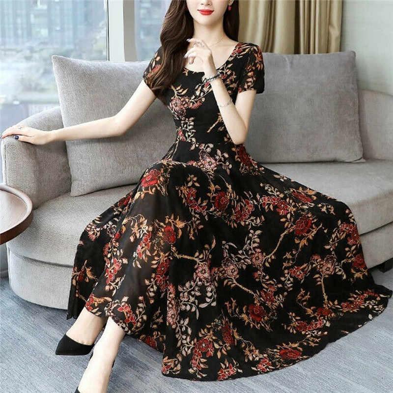 Femmes imprimé fleuri robe de soirée à manches courtes Sexy longs Vestidos femmes élégant printemps été bohème Maxi robe Vestidos O3