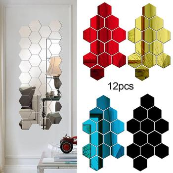 12Pcs Hexagon 3D Art Mirror Wall Stickers Home DIY Decoration Living Room Decal image
