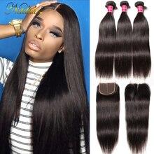 Nadula Hair 3 zestawy brazylijskie proste włosy z zamknięciem 4*4 zamknięcie koronki z splecione ludzkie włosy proste wiązki z zamknięciem