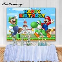 Inmemory video game super mario pano de fundo festa de aniversário da criança foto fundo fotografia estúdio prop vinil banner photocall