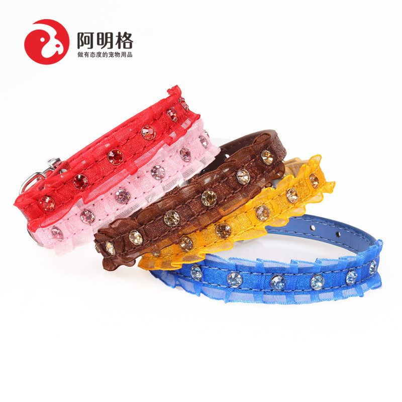Amin Lattice New Style Pu Material Lace Pet Collar Dog Neck Ring
