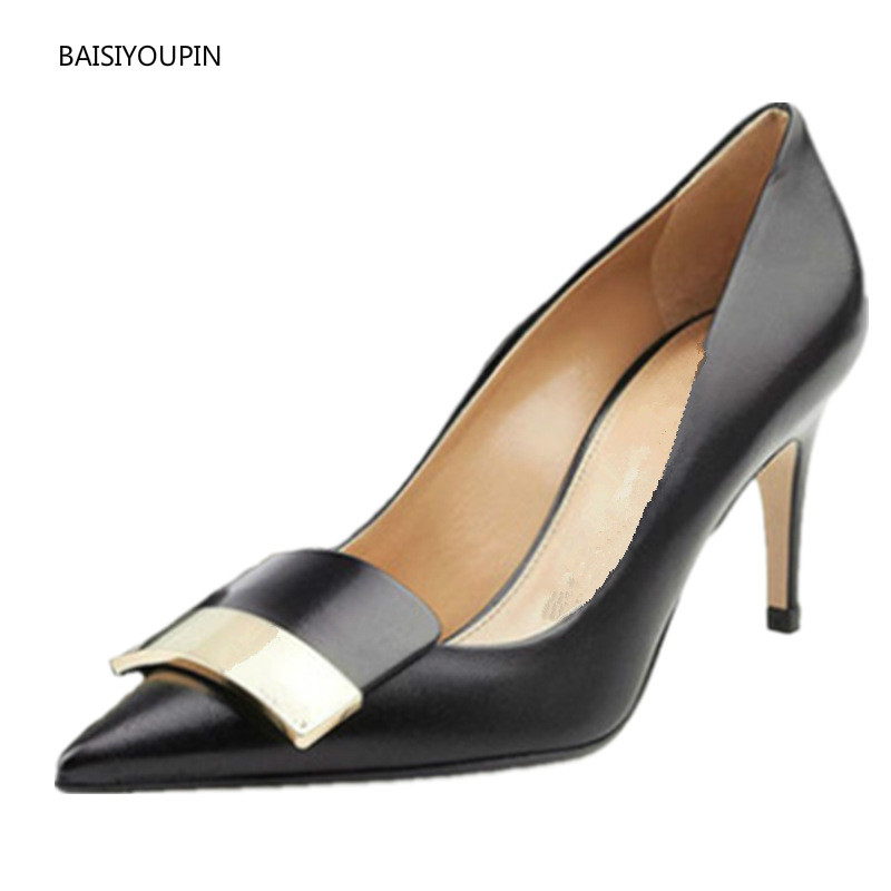 Good Quality Women Solid Pumps Shoes Four Seasons Pointed-toe Thin High Heels Office Ladies Pumps Casual Female Shoes Plus Size image
