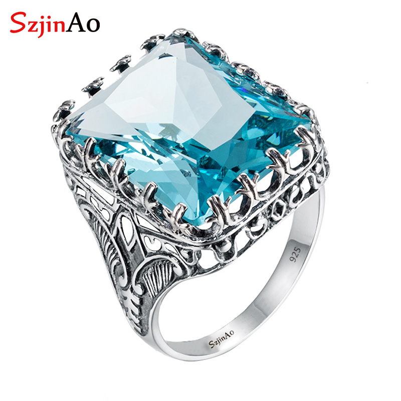 Szjinao carré bleu aigue-marine crâne 925 argent éléphant anneau Antique décoration nationale marque de luxe anneaux pour femmes taille 5-11