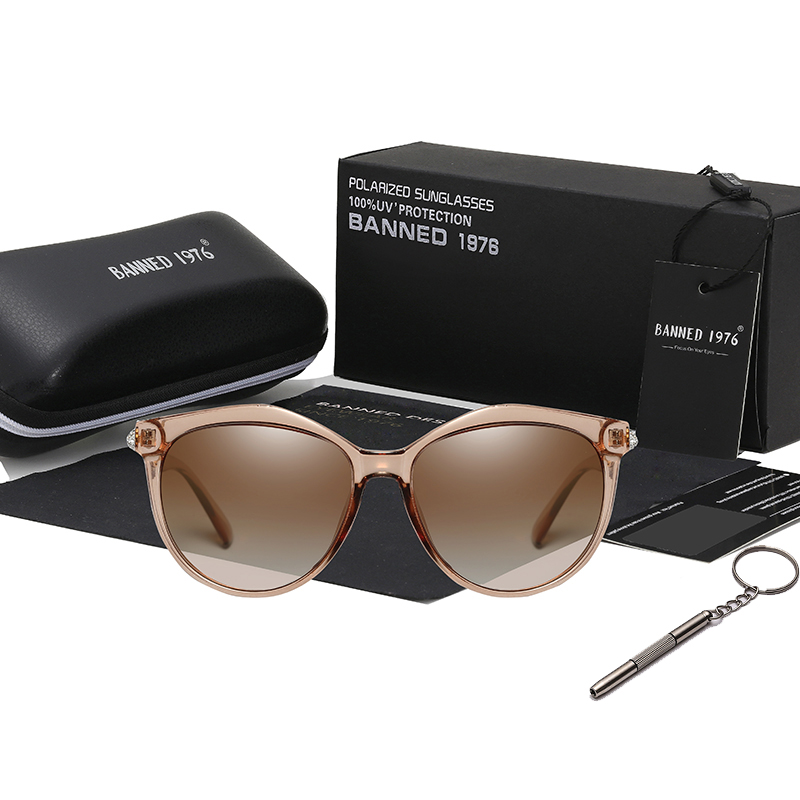 2019 New Luxury HD Polarized Women Sunglasses Fashion Round Ladies Vintage Brand Design cat eye woman Female Sun Glasses oculos 2
